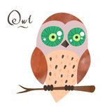 Vector cartoon owl with watercolor elements Royalty Free Stock Photography