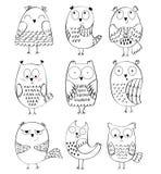 Vector Cartoon owls. Set of cartoon owls with various emotions Royalty Free Stock Photos