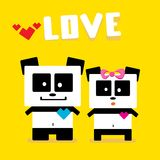 Vector cartoon Panda couple in love. Stock Photo