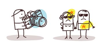 Cartoon Paparazzi and Star People. Vector Cartoon Paparazzi and Star People Royalty Free Stock Images