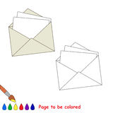 Vector cartoon paper envelope to be colored. Royalty Free Stock Photo