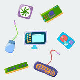 Vector cartoon patch badges set. Omputer parts Stock Photography