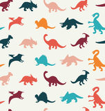 Vector Cartoon Pattern of colorful different dinosaur Stock Photography