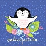 Vector cartoon penguin. Vector illustration of a cartoon happy penguin. Anticipation Stock Image