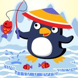 Fishing. Vector cartoon of penguin`s fishing time. EPS 10 Stock Photography