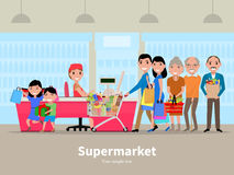 Vector cartoon people doing shopping supermarket. Vector illustration cartoon people doing shopping in a supermarket. Customers in department store paying at Stock Photo