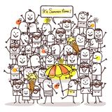Cartoon People and Summer Time royalty free illustration