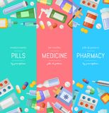 Vector cartoon pharmacy or medicines vertical banner templates. Pharmacy and medicine banner with drugs and pill background illustration stock illustration