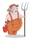 Vector cartoon pig-farmer Royalty Free Stock Photo