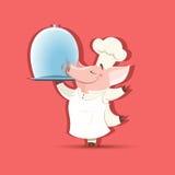 Vector cartoon Piggy chief brings a big restaurant dish Stock Images