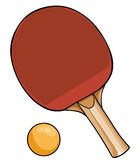 Vector Cartoon Ping-Pong Racket and Ball. On White Background vector illustration