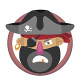 Vector cartoon pirate`s head Royalty Free Stock Images