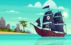 Vector cartoon pirate ship in bay, island. Vector cartoon pirate ship on water, sand beach of the bay. Wooden boat with black sails, cannons goes to the island vector illustration