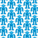 Vector Cartoon Pixel Art Blue Robot Background Royalty Free Stock Images