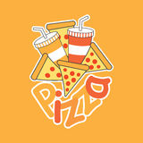 Vector cartoon of Pizza with soft drinks Stock Images