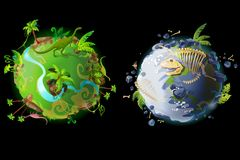 Vector cartoon planet evolution game design set royalty free stock photos
