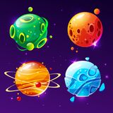 Vector cartoon planets for game design set. Vector cartoon fantastic planet, worlds asteroid set. Cosmic, alien space element for game design. Illustration with Royalty Free Stock Images
