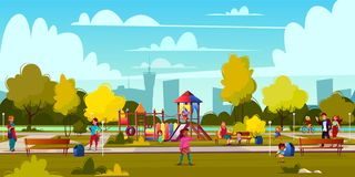 Vector cartoon playground in park with people royalty free illustration