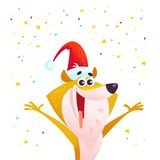 Vector cartoon portrait of funny smiling dog in santa hat and confetti isolated on white background. Christmas smiling puppy character. Good for congratulation Royalty Free Stock Images