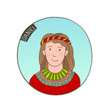 Vector cartoon portrait of young Daniel. Bible illustration for kids Royalty Free Stock Photo