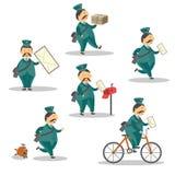 Vector cartoon postman mailman character set Royalty Free Stock Images