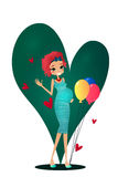 Vector Cartoon Pregnancy Character Greeting Card Illustration Stock Photo