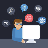 Vector cartoon programmer working on his computer. In flat style Stock Images
