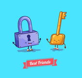 Vector cartoon. Protection, security lock and key Stock Photography