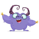 Vector cartoon purple monster with big horns. Halloween furry violet monster Royalty Free Stock Images