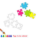 Vector cartoon puzzle to be colored. Stock Photography