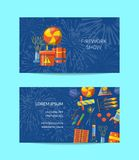 Vector cartoon pyrotechnics business card template for. Entertainment illustration Stock Images