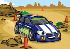 Cartoon rally car drive in the desert. Vector of cartoon rally car drive in the desert Stock Image