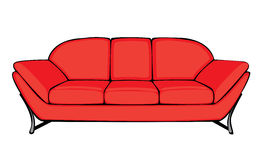 Vector cartoon red couch isolated on white Stock Photography
