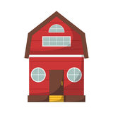Vector cartoon red farmhouse. Vector illustration with cartoon isolated farm house on white background. Red country house icon. Farmhouse vector background for Stock Photos