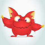 Vector cartoon red monster with big ears. Halloween fluffy red monster waving his hands. Monster game character Royalty Free Stock Photography