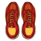 Vector Cartoon Red Running Shoes Royalty Free Stock Image