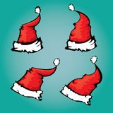 Vector cartoon red Santa hat Stock Photography