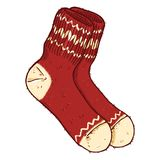 Vector Cartoon Red Woolen Socks with White Ornament. Vector Cartoon Illustration - Red Woolen Socks with White Ornament Royalty Free Stock Photography