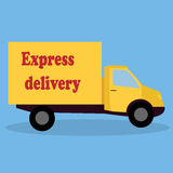 A vector cartoon representing a delivery car. Red delivery van - fast shipping concept isolated Royalty Free Stock Photography
