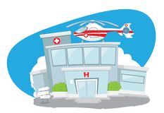 Hospital building with helicopter on its roof Stock Photo