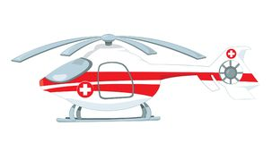 Medical helicopter turned off and parked isolated on white Stock Image