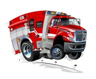 Vector Cartoon Rescue Truck Royalty Free Stock Photos