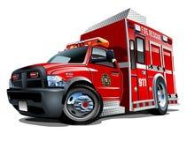 Vector Cartoon Rescue Truck stock images
