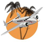 Vector cartoon retro airplane Royalty Free Stock Image