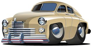 Vector cartoon retro car. Vector illustration cartoon car `Pobeda` Gaz-20 isolated on white background Stock Photos