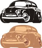 Vector cartoon retro car. Vector illustration vintage cartoon car `Zaporozhetc` ZAZ isolated on white background Royalty Free Stock Photos