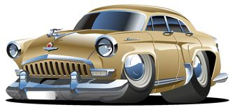 Vector cartoon retro car stock illustration