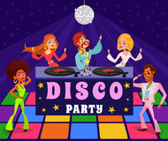 Vector cartoon retro illustration of a man and a woman in a disco club. Stock Photos