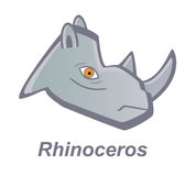 Vector cartoon rhinoceros. Vector cartoon head of rhinoceros isolated on white background. Eps format 10 is available Royalty Free Stock Photos