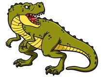 Vector Cartoon Roaring Tyrannosaurus Rex. A vector cartoon of a green angry tyrannosaurus rex looking back and roaring Stock Image